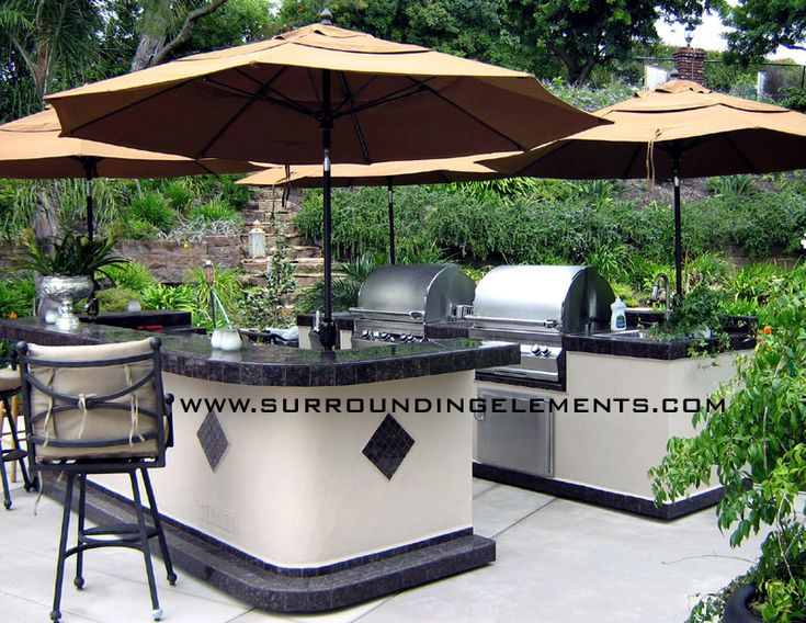 2 Piece Outdoor Kitchen with Two Barbecues Double Side Burner, Sink and Storage on Back Piece.  Front Piece has 2 Refrigerators, Storage and Raised Bar. Item# KIT27 Patio Furniture Custom Remodeling, Home Remodeling, Outdoor Seating, Mosaic Outdoor Kitchen, Barbecue Grill, Umbrella, Chairs, Outdoor Sink, Outdoor Storage, Outdoor Bar, Outdoor Island, Outdoor Entertaining, Outdoor Cooking, Backyard Entertaining, Unique Backyards, Backyard Ideas, Custom Backyards, Custom Outdoor Kitchens