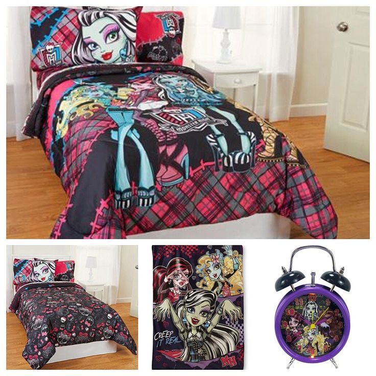 Monster High 7 Piece Kids Bedding Set with Reversible Comforter, Sheets, Pillow Cases, Sherpa Blanket and Alarm Clock - Full //Price: $131.32 & FREE Shipping //     #bedding
