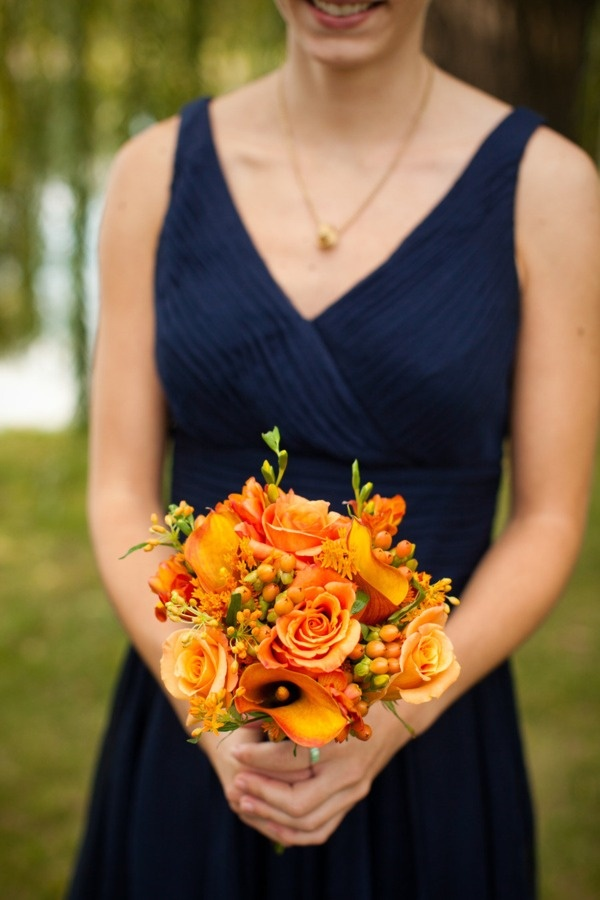 This is what I'm envisioning... except perhaps more of a jewel toned blue and less orangy flowers