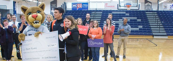 Winners rewarded with surprise presentations of their full-tuition scholarships to Columbia College…