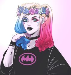 Harley Quinn in a Batman sweter