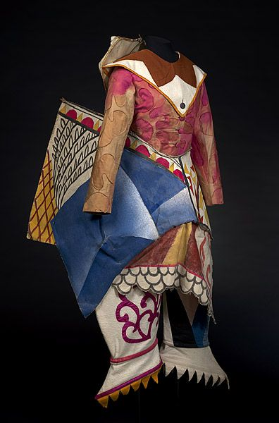 Costume for a buffoon's wife, c. 1921, by Mikhail LARIONOVLES (1881-1964) for Les  ballets russes de Serge Diaghilev (1909-1929).  Cotton, cane, painted buckram, silk dyed, painted, appliqué Purchased 1973