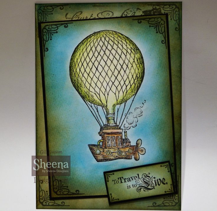 Card I made using Sheena Douglass Time Machine stamp from the Time Traveller collection. coloured with spectrum Aquamarkers and the background is Distress inks.