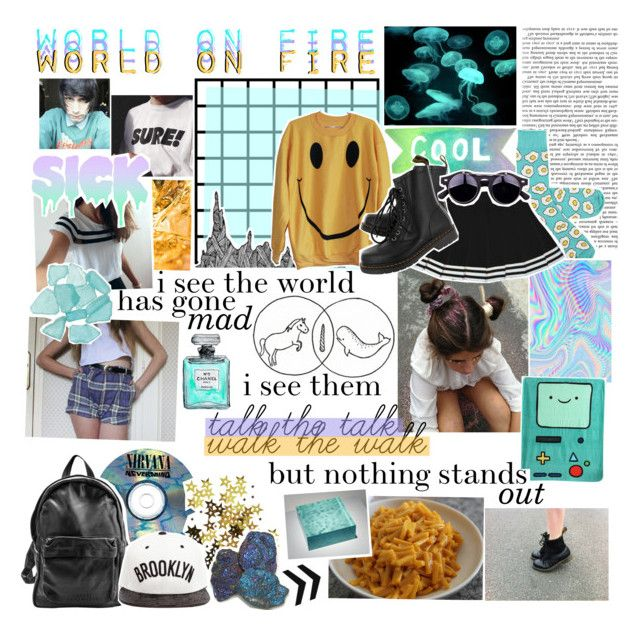 """""""i see the world has gone mad"""" by tetrachris ❤ liked on Polyvore featuring Dr. Martens, Sunday Somewhere and JUST DON"""