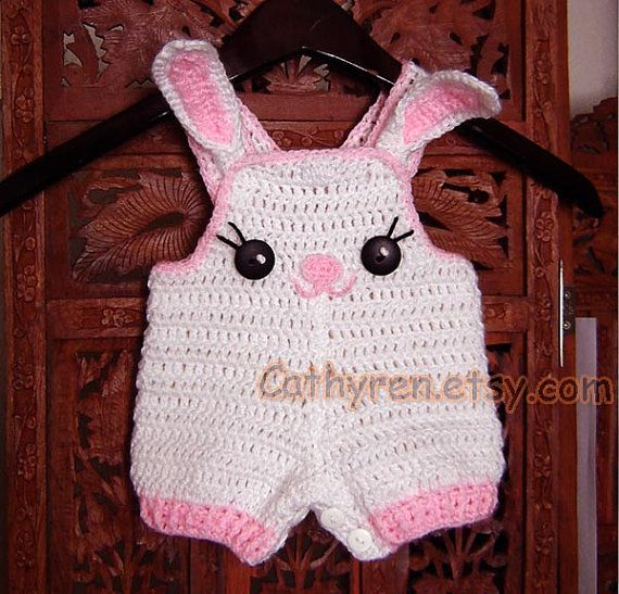 Easter Bunny Overall Shorties, Shortall, Buttons at Legs for Easy Change - INSTANT DOWNLOAD Crochet Pattern