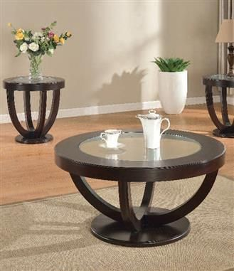 Paxton Espresso Wood Glass 3pc Coffee Table Set
