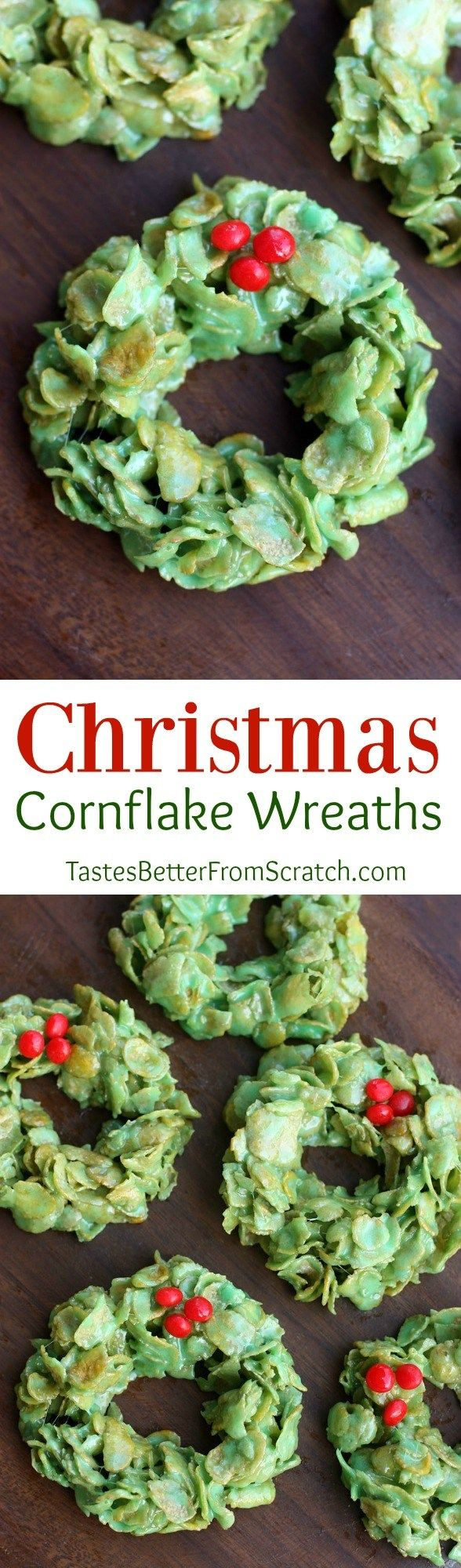 Christmas Cornflake Wreaths are one of my favorite easy Christmas treats!   Tastes Better From Scratch