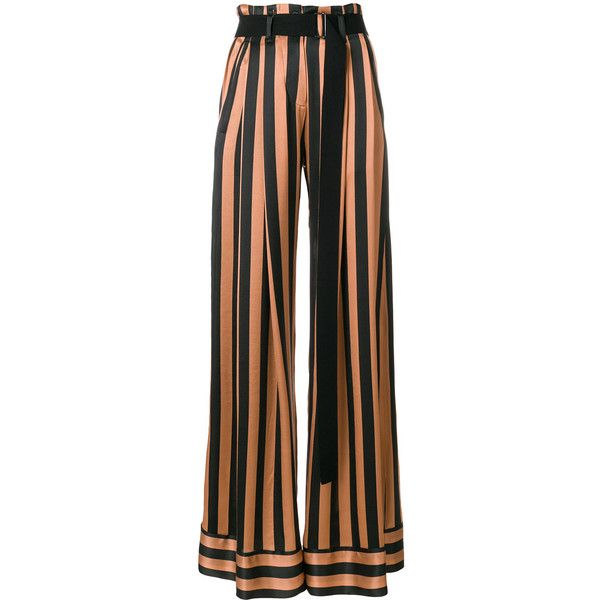 Ann Demeulemeester striped palazzo pants ($1,111) ❤ liked on Polyvore featuring pants, black, goth pants, striped wide leg pants, high-waist trousers, wide leg palazzo pants and high waisted pants