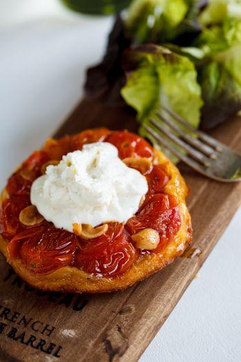 Tomato Tarte Tatin with Goat's cheese Crème. #Recipe #Christmas #Starter #Appetiser