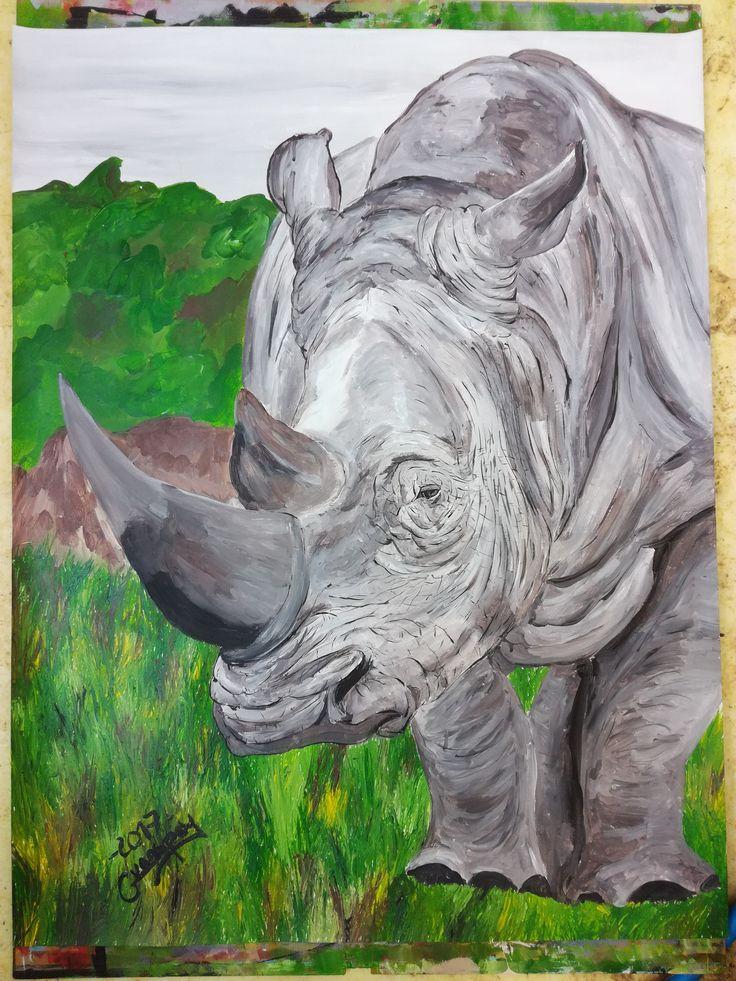 Dessin Peinture acrylique animalière animal rhinoceros 50x65 cm de la boutique vanspeygalleryart sur Etsy