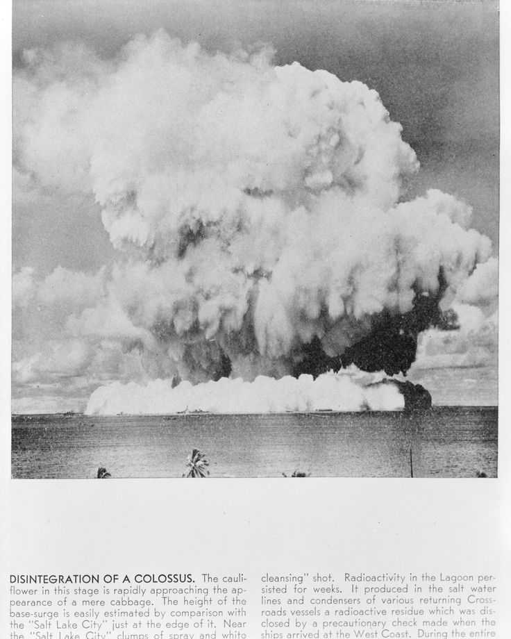 Disintegration of a Colossus. Atomic bomb explosion at Bikini Atoll, Operation Crossroads. Photograph of image taken October 3, 1950  National Archives Identifier:22118348