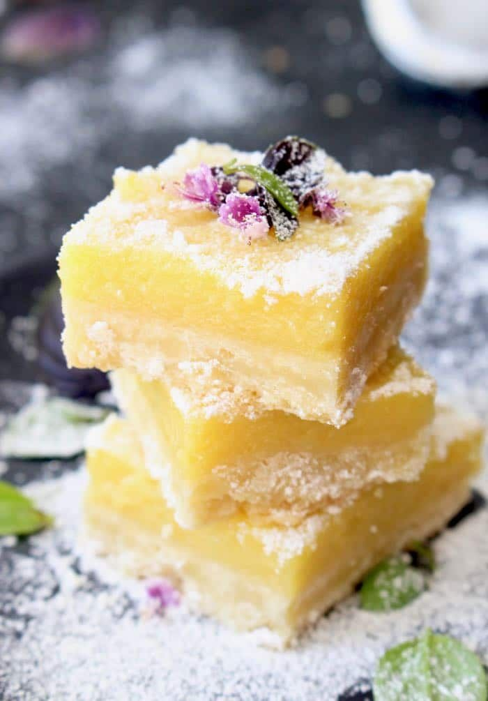 3 Lemon Bars Squares Stacked on Top of Each Other