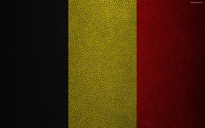 Download wallpapers Flag of Belgium, 4k, leather texture, Belgian flag, Europe, flags of Europe, Belgium