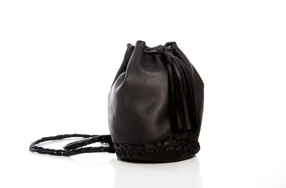 Black Leather Bag Bucket Purse with Long Tassel  by EleannaKatsira, €135.00