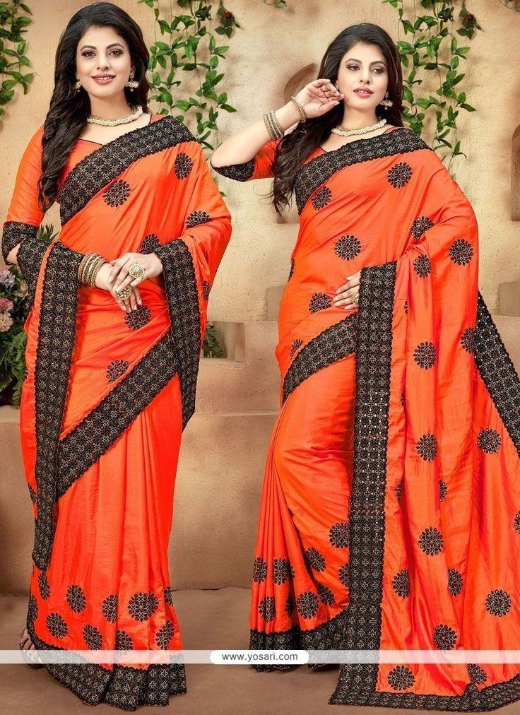 Patch Border Work Orange Traditional Designer Saree