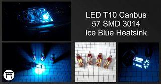 Takekimurah: LED T10 Canbus 57 SMD 3014 Ice Blue Heatsink