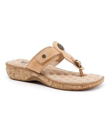 Look at this #zulilyfind! Natural Boulder Leather Sandal by SoftWalk #zulilyfinds