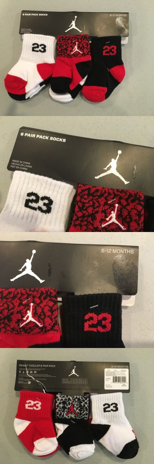 Michael Jordan Baby Clothing: Nike Michael Jordan 6Pk Baby Toddler Socks 6-12 Months Black White Red BUY IT NOW ONLY: $14.99