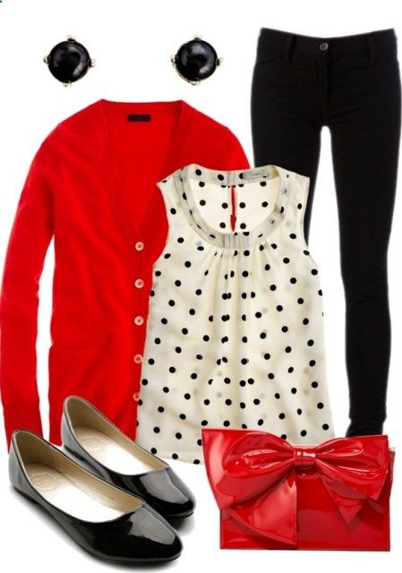 This color combo is one of my favorites! Bold, black, and polka dots are always fun to wear.