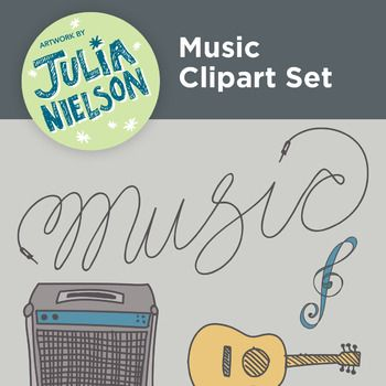 This clipart set is includes 22 hand drawn illustrations of treble clefs, music notes, piano keys, a saxophone, an acoustic guitar, an electric guitar, headphones, a trumpet and more. Each are separate PNG files that can be layered onto a coloured background without big white squares around each object.