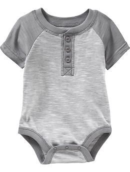 Short-Sleeved Henley Bodysuits for Baby   Old Navy