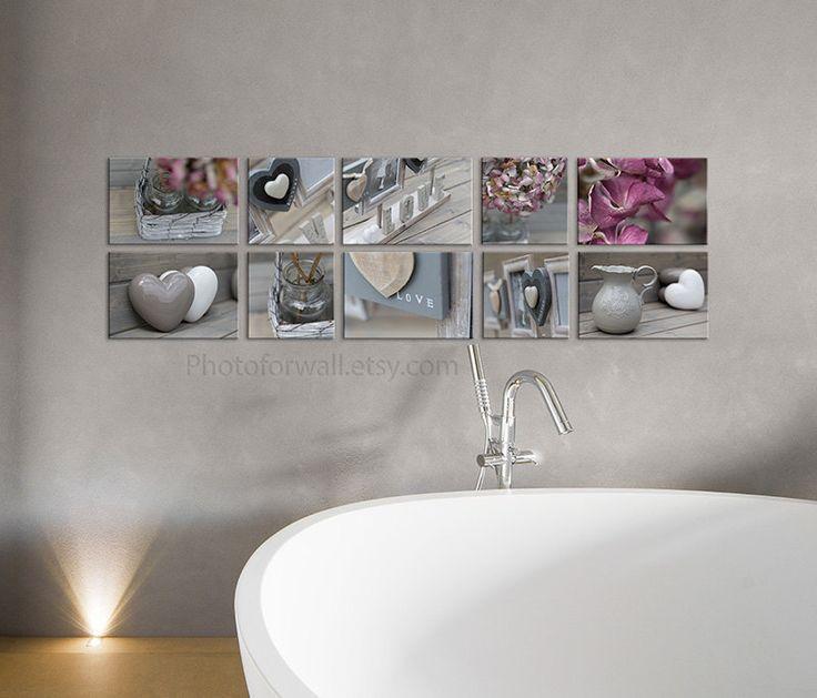 set of 10 canvas bathroom art grey decor nursery decor pink and soft grey home decor