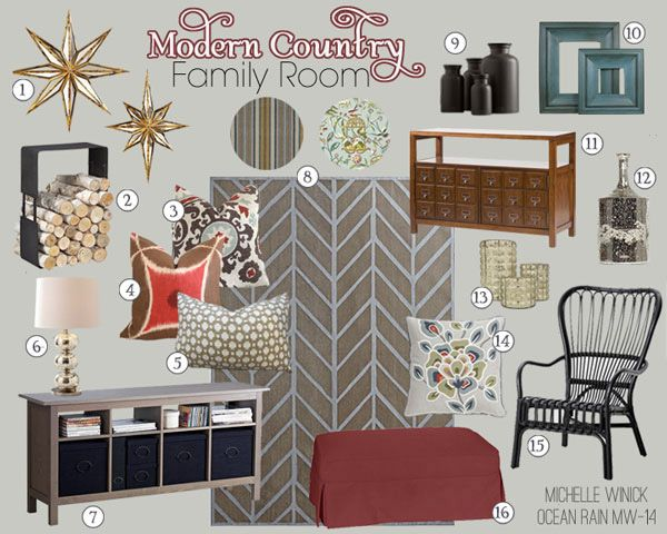 Modern Country Family Room Mood Board | Teal and Lime Interiors