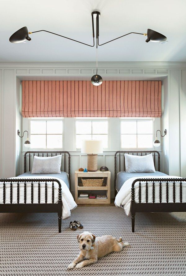 Designer Joe Lucas blended sophisticated details with a playful aesthetic in a California home where East Coast tradition meets West Coast cool.  Boys beds