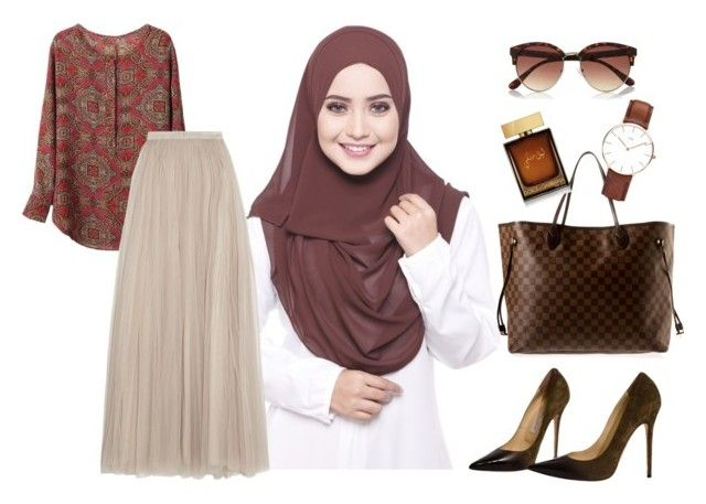 """Brown Hadya"" by ctnurazreen-1 on Polyvore featuring Louis Vuitton, River Island, Jimmy Choo, Daniel Wellington, Dolce&Gabbana and Needle & Thread"