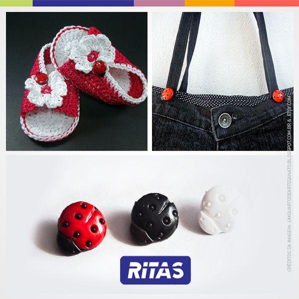 Que tal decorar roupas, mochilas e até mesmo fazer biju com um lindo e estiloso botão de joaninha? Conheça no nosso site: http://goo.gl/kjyeFY