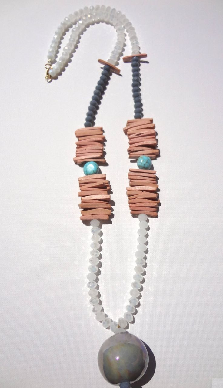 Woman Necklace Jewelry Long Crystal Ceramic Stone Wooden Beads Ethnic Style Summer Celebration Gift Party Girl Grey Turquoise Stone White by ArtArgo on Etsy