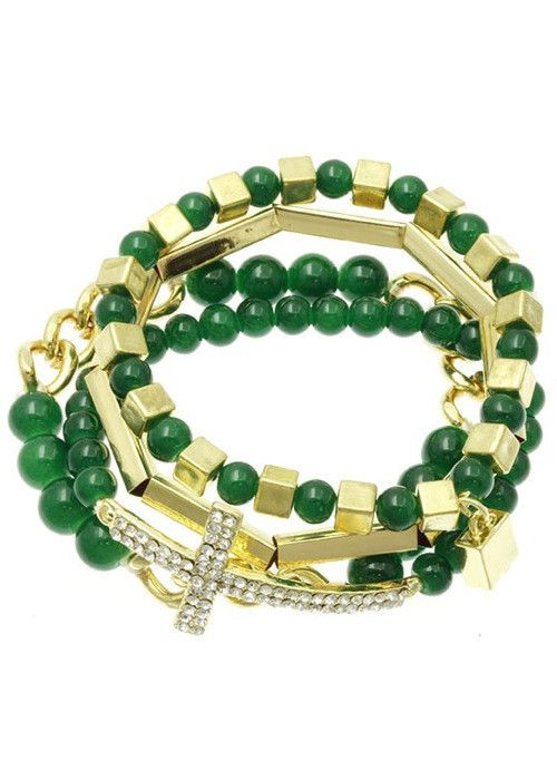 Crystal Stretch Cross Bracelet Set (Green) – EvaMaria Boutique
