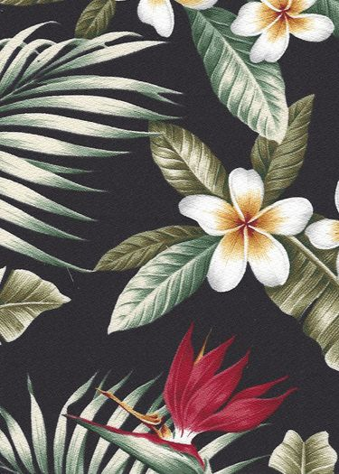 Maunawili Black Tropical Botanical Vintage Hawaiian Fabric Hawaiian Tropical…