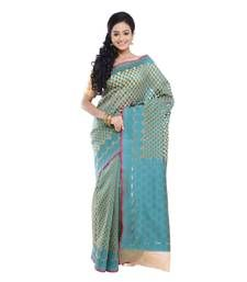 Buy Beige hand_woven organza saree with blouse organza-saree online