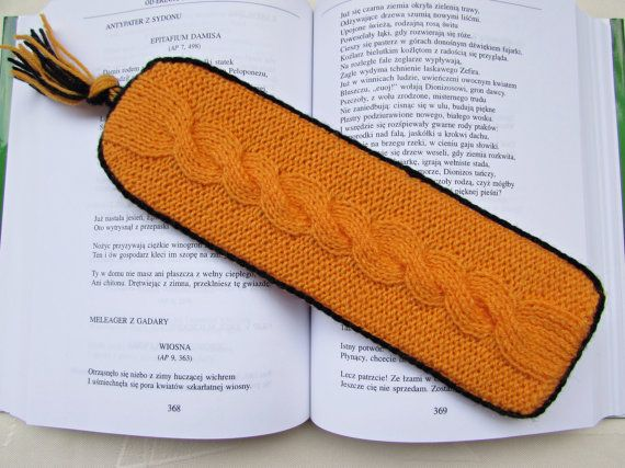 Unique Bookmark Orange Bookmark Knitted by MyRainbowColors on Etsy