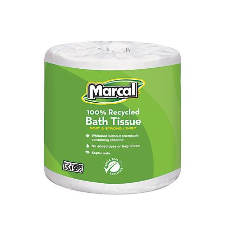 Marcal® Small Steps® 100% Recycled Premium 2-Ply Bathroom Tissue, 336 Sheets Per Roll, Case Of 48 Rolls