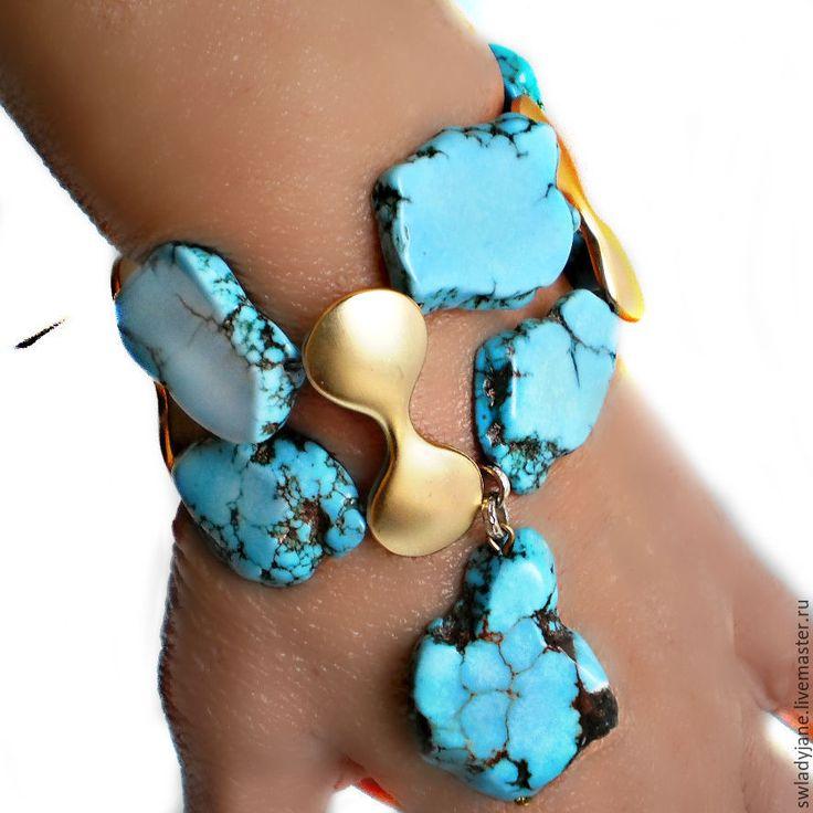 Купить Браслет с бирюзой с подвесками бирюзовый браслет купить(Серьги) - бирюзовый, браслет с подвесками, браслет с камнями