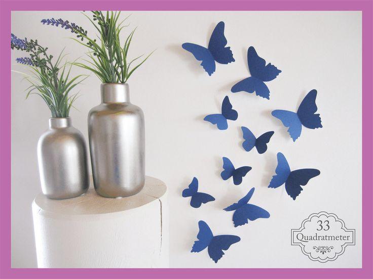 Fabulous Kinderzimmerdekoration UNSER ORIGINAL edle D Schmetterlinge blau D ein Designerst ck von