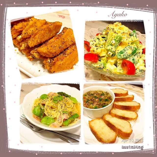 レシピに困った時に作る、簡単唐揚げ♡ ピリ辛だから、お酒のおつまみにも(*^^*) - 103件のもぐもぐ - 手羽中のピリ辛揚げ、スナップえんどうとゆで卵のサラダ、春野菜のスープパスタ、オイルサーディンのブルスケッタ by ayako1015