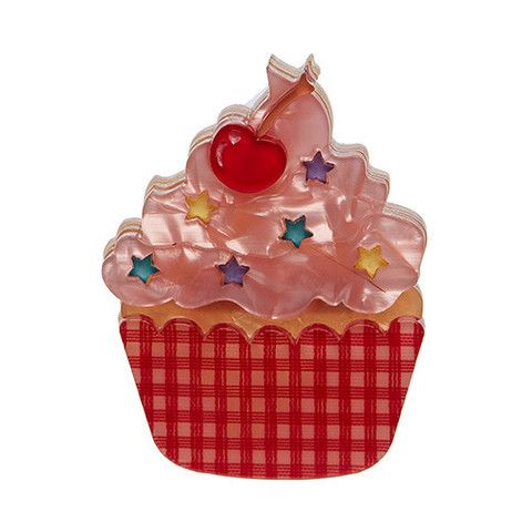 "Erstwilder Limited Edition Cherry on Top Brooch. ""The perfect (Erstwilder) picnic could not be complete without a cherry-topped cupcake. Doesn't this one look delicious?"""