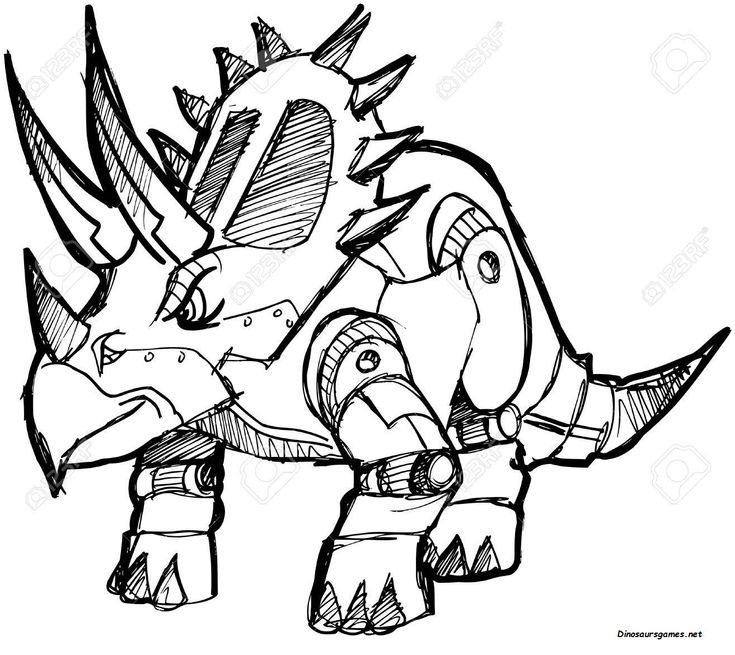 This is Robot Dinosaur 3 Coloring Page that have on ...