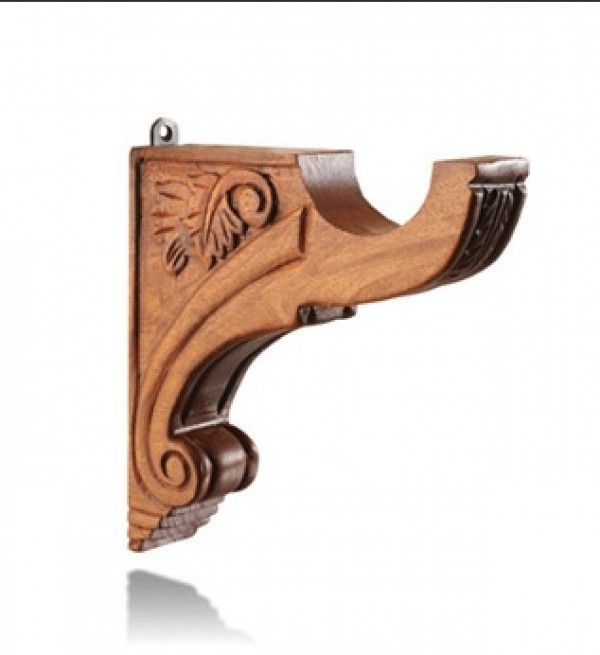 louvre wood bracket for 2 curtain rod