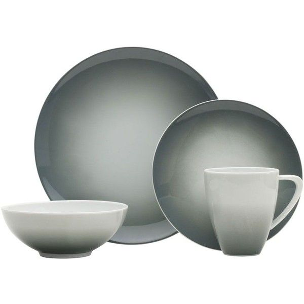 Naya Grey 16 Piece Dinnerware Set ($180) ❤ liked on Polyvore featuring home, kitchen & dining, dinnerware, gray dinner plates, grey dinnerware, gray dinnerware sets, porcelain dinnerware sets and grey dinnerware sets