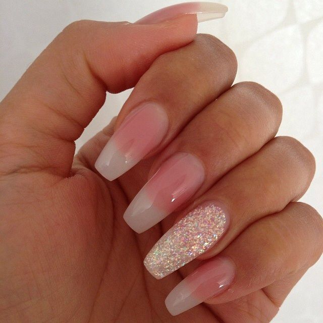 French with glitter accent nail