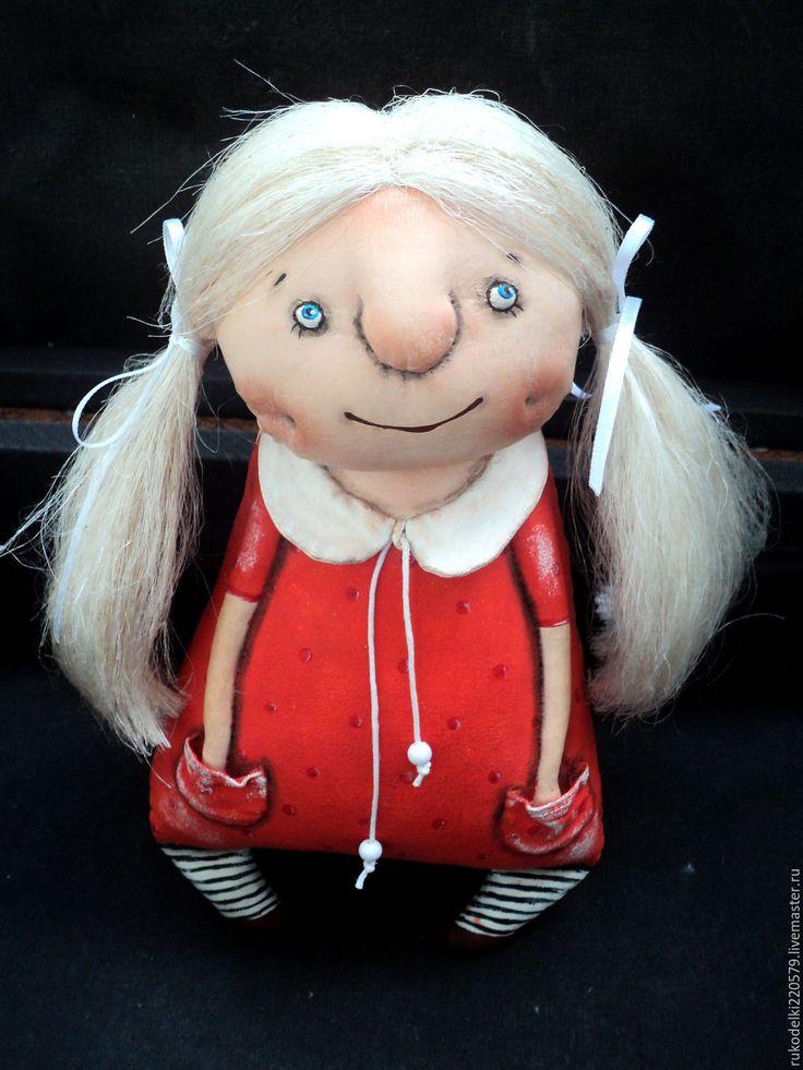 Купить Текстильная кукла Земляничка. - ярко-красный, кукла ручной работы, кукла, текстильная кукла