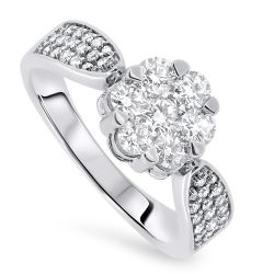 1.00cts Diamond Cluster Ring