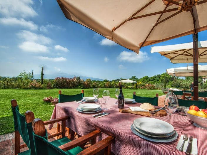 You and your friends or family are enjoying the nice temperature and the cicadas sounds ( typical summer animal ) and you're waiting for your meal. We suggest : Bruschetta with fresh tomatoes, oil, salt and basil - and a bottle of fresh white wine. Could this be fine for you?  #luxuryproperty #garden #italian #food #lunch #settingtables