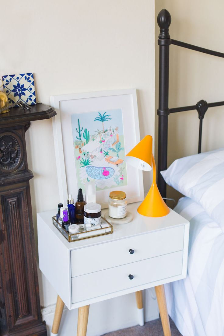Midcentury bedside table - Are you a former homeware shopaholic? I'm sharing some rented room updates thanks to Homesense and tips for figuring out your interior style.