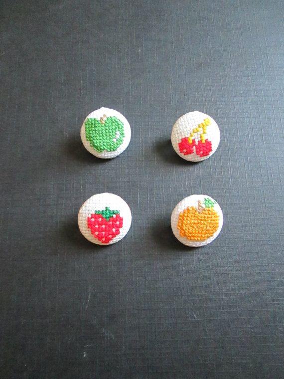 Pacman Fruit Cross Stitch Button Badges SET OF 4 door LizKingCraft, £7.80