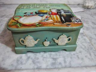 Ahşap boyama hamur kabartma çay kutusu